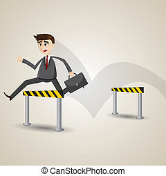 cartoon businessman hurdles - illustration of cartoon...