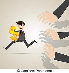 cartoon businessman run away from creditor - illustrator of...