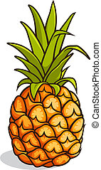 Pineapple - Vector illustration of a pineapple isolated on a...