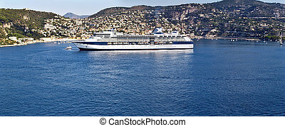Cruise ship at Villefranche-sur-Mer, France - Cruise ship at...