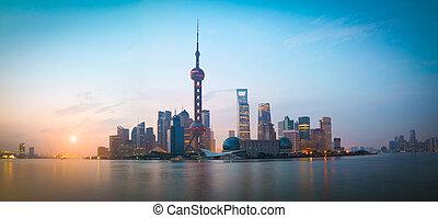 Shanghai bund landmark urban landscape at sunrise skyline -...
