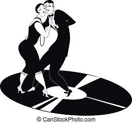 Tango - Funny cartoon couple dancing tango on a gramophone...