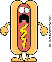 Scared Cartoon Hot Dog - Cartoon illustration of a scared...
