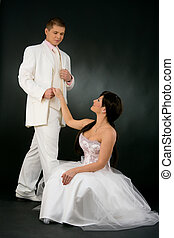 Bride and groom in wedding dress - Portrait of wedding...