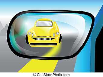 car in the rear view mirror - abstract car in the rear view...