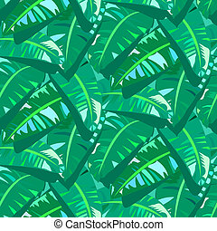Tropical vintage pattern with big banana leafs - Vector...
