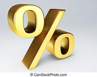 gold percent sign 3d