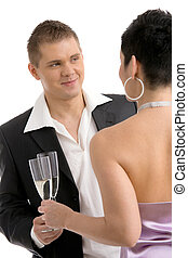 Couple clinking with champagne - Trendy young couple...