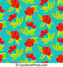 Tropical vintage pattern with red hibiscus flowers - Vector...