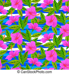 Tropical pattern with pink hibiscus flowers