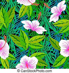 Tropical pattern with white hibiscus flowers - Vector...