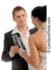Young couple drinking champagne - Happy young couple...
