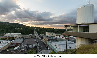 Oregon City Bridge Clouds Timelapse - Historic Oregon City...