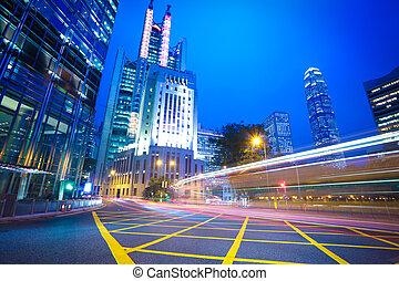 Hong Kong of City traffic at night - Hong Kong of highway...