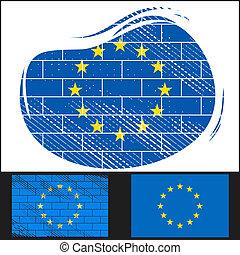 Scratched EU flag