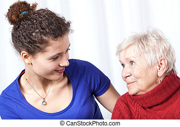 Portrait of a grandmother and granddaughter, horizontal