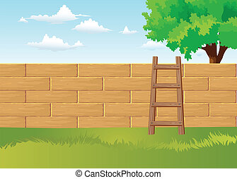 Home Back Yard - Home back yard and ladder vector
