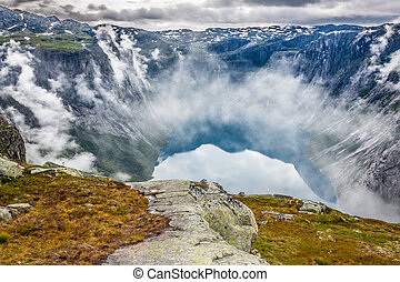 Beautiful norwegian landscape with mountains on the the way...