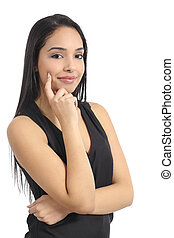 Confident happy arab woman model smiling isolated on a white...