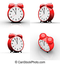 Red alarm clock on white background - Red alarm clock...
