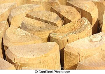 split wooden posts