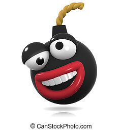 3d Crazy bomb - 3d render of a bomb laughing like crazy