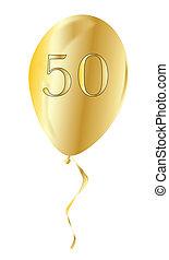 Golden Anniversary Balloon - A flyaway golden anniversary...