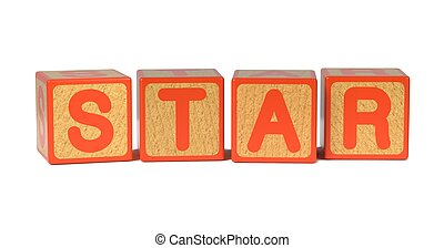 Star - Colored Childrens Alphabet Blocks. - Star on Wooden...