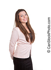 smart sales or busines woman smiling - happy smart sales or...