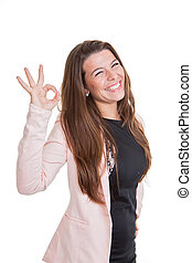 happy smiling business woman giving ok sign
