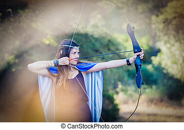 elven wood princess with bow and arrow - elven wood princess...