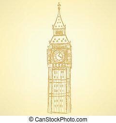 Sketch Big Ben, vector background eps 10 - Sketch Big Ben,...