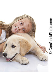 young child with family pet dog