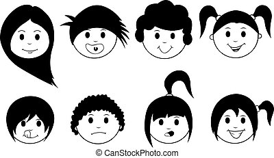 kids - set of kids faces isolated
