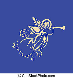Angel with a trumpet on a blue night sky background