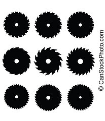 circular saw blades - Black silhouettes of circular saw...