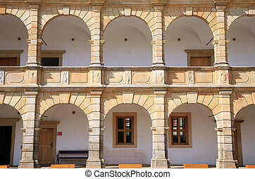 Arcades in castle in Moravska Trebo - Architectural detail...