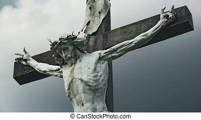 The Crucifixion Christian cross with Jesus Christ crucified...
