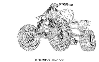 Quad bike, motorcycle,  3D model body structure, wire model