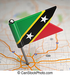 Saint Kitts and Nevis Small Flag on a Map - Small Flag of...