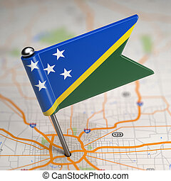 Solomon Islands Small Flag on a Map Background - Small Flag...