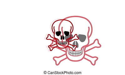 Pulsing Skull And Crossbones Symbol - Animation using the...