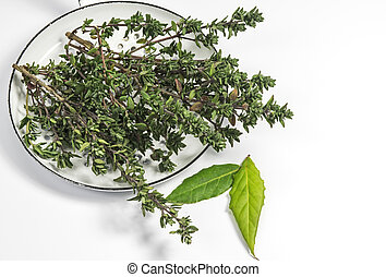 Thyme and bay leaf