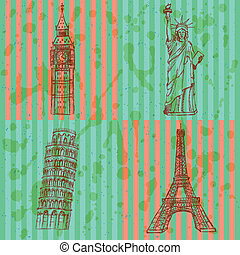 Sketch Eifel tower, Pisa tower, Big Ben and Statue of...