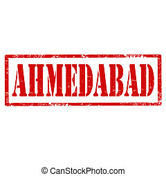 Ahmedabad-stamp - Grunge rubber stamp with text...