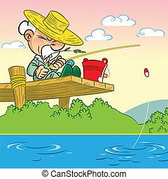 Idoso, homem, pesca