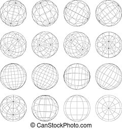 Set of abstract globes, vector illustration - Set of...