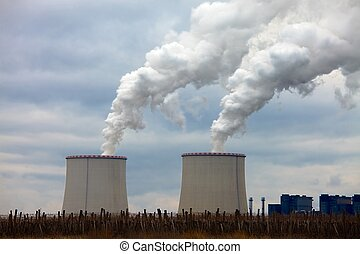 Power Plant - Power plant with cooling towers