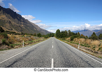 Straight road in New Zealand - Straight road next to The...