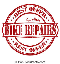 Bike repairs - Stamp with text bike repairs inside, vector...
